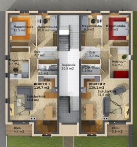 Kungla Esimene korrus; Korterid 1 ja 2_large